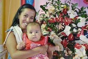Liceth González y su Hija Helen.