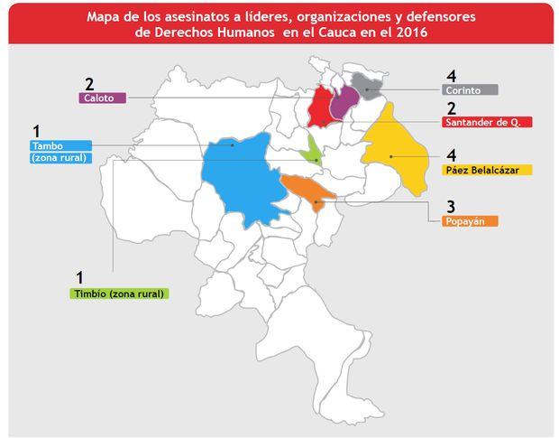 Según la defensoría del Pueblo y otras fuentes consultadas por este diario se han presentado al menos 17 asesinatos a líderes, organizaciones y defensores de Derechos Humanos en el Cauca.